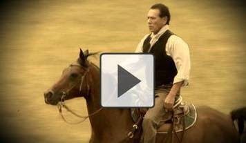image of Wes Studi riding horseback, Click now for video
