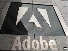 Imagen del logo de Adobe en sus oficinas