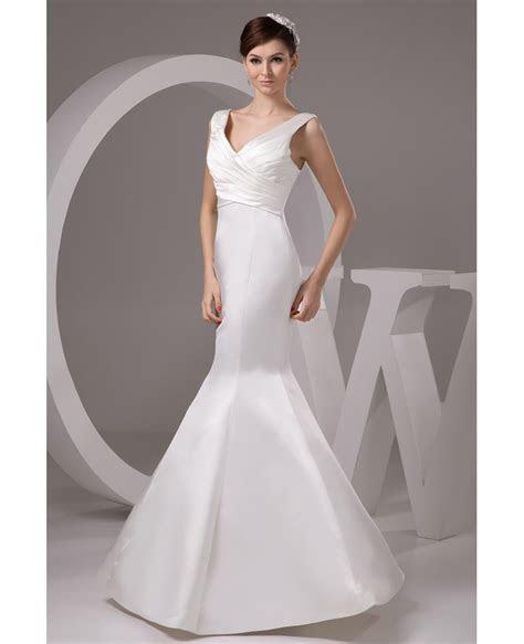 Mermaid V neck Floor length Satin Wedding Dress  GemGrace