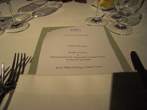 The nights menu