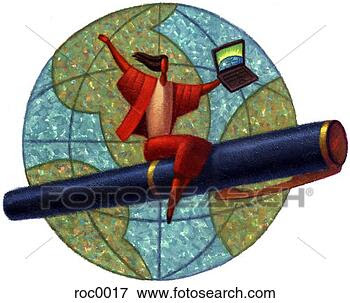 Stock Illustration - woman flying around  globe on pen.  fotosearch - search  clipart, illustration  posters, drawings  and vector eps  graphics images