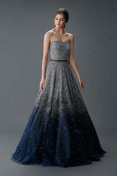 Stunning sparkly silver and midnight blue wedding gown by