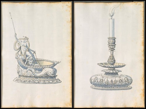 ornate soup tureen and candlestick silverware designs