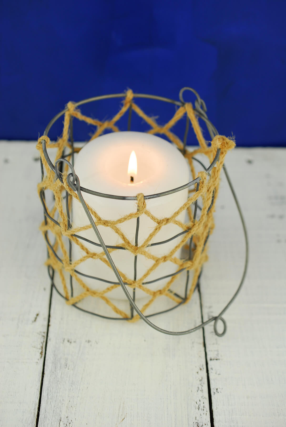 Rope & Wire Candle Holder Hanging