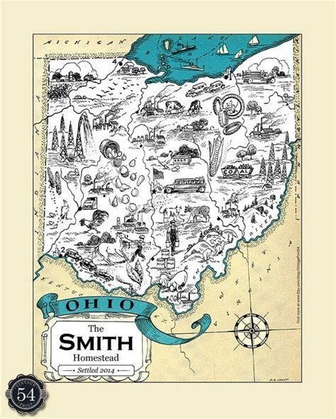 OHIO MAP   Map of Ohio, Personalized Wedding Gift