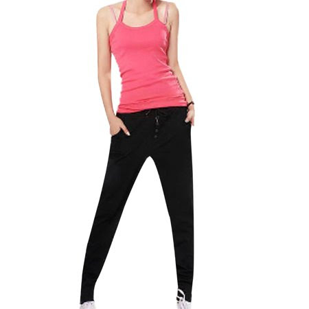 Women's Drawstring Waist Four Pockets Loose Fall Casual Harem Pants Black (Size S \/ 4)