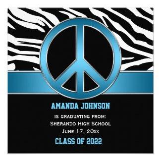 Blue Peace Sign Black Zebra Graduation