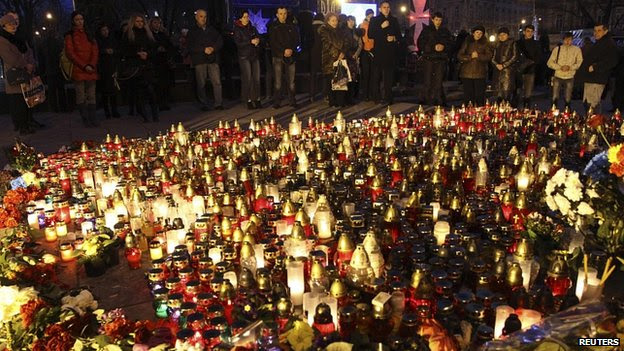 Flowers and candles in Independence Square, Kiev. 24 Feb 2014