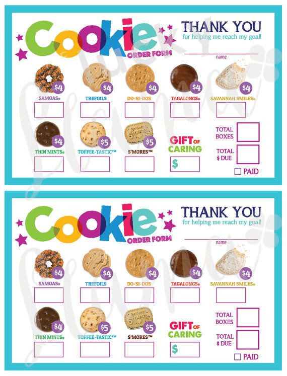 It is a picture of Légend Girl Scout Cookie Order Form Printable