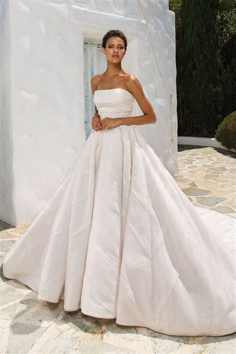 Style 8880: Geometric Organza Trim on Strapless Ball Gown