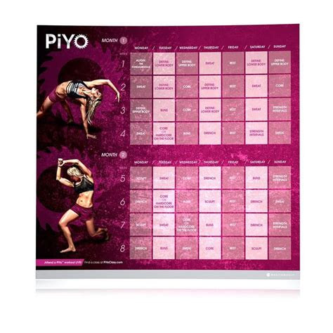 images  piyo calendar  pinterest workout