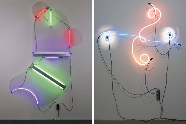 """Sonnier's """"Shmoo - O.G.V.,"""" 2013, and """"Neon Wrapping Incandescent,"""" 1969."""