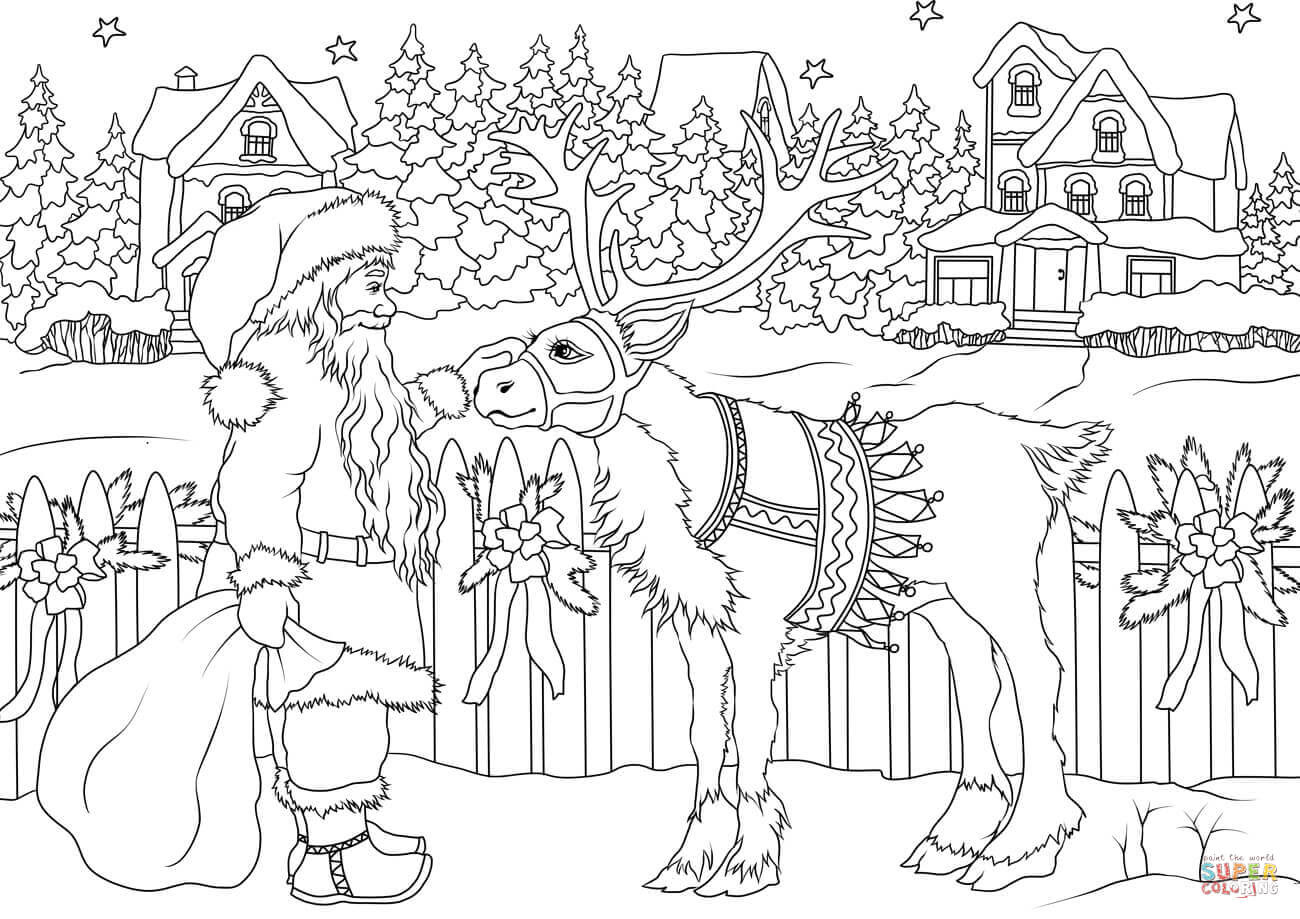 Vintage Santa Claus with His Christmas Deer coloring page ...