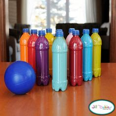 18 Awesome Homemade Toys for Toddlers - plastic bottle bowling set. - We drink so much water that I find these stupid plastic bottles every where. Good recycling idea. @Stephanie Close Close VanGilder, could be a fun classroom project.