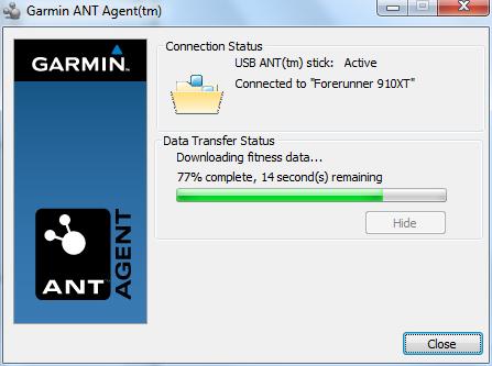 Garmin FR910XT ANT Agent Data Sync