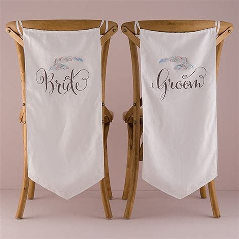 Feather Whimsy Bride and Groom Chair Banner Set   Weddingstar
