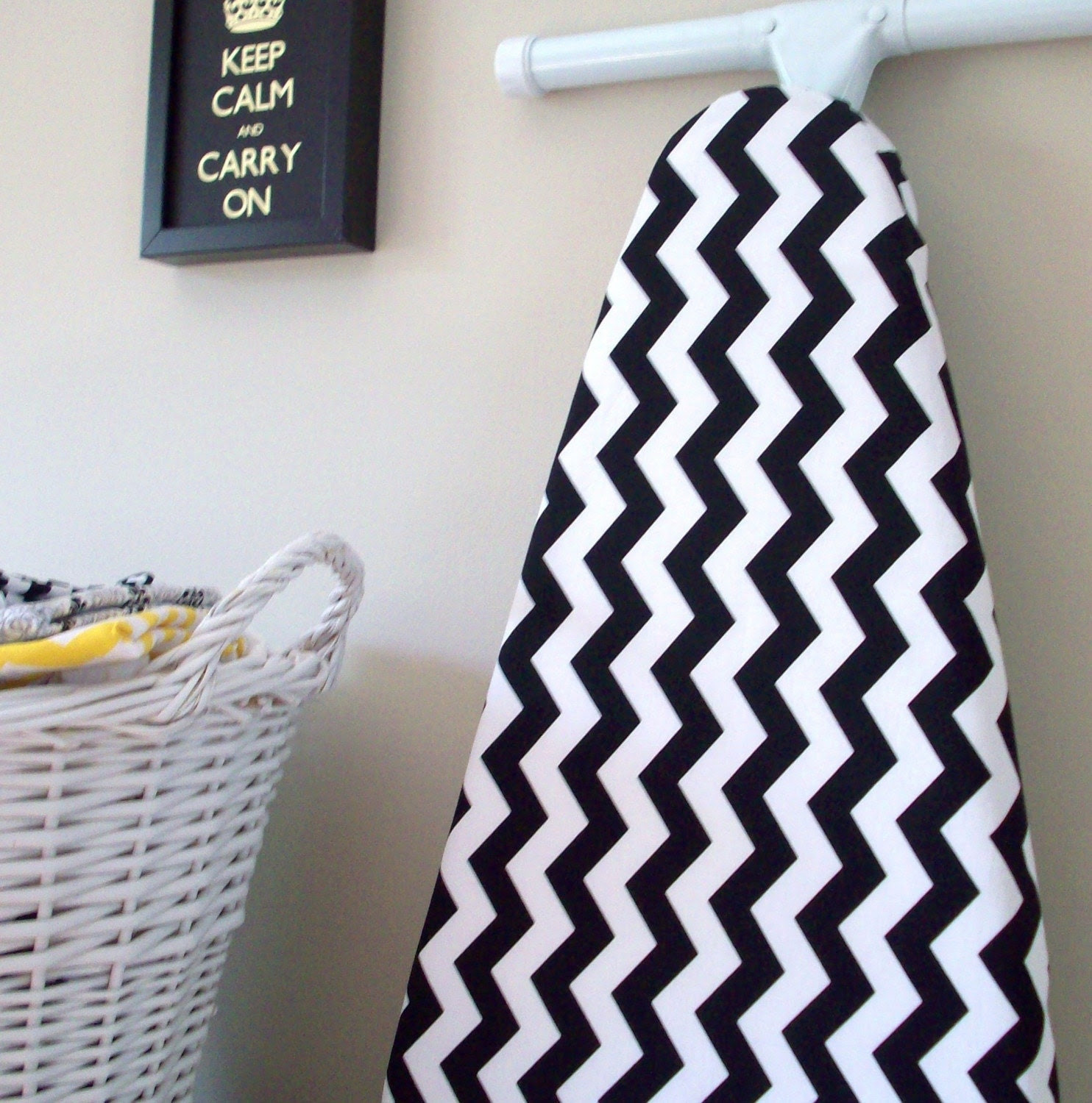 Chevron Ironing Board Cover in Black and White