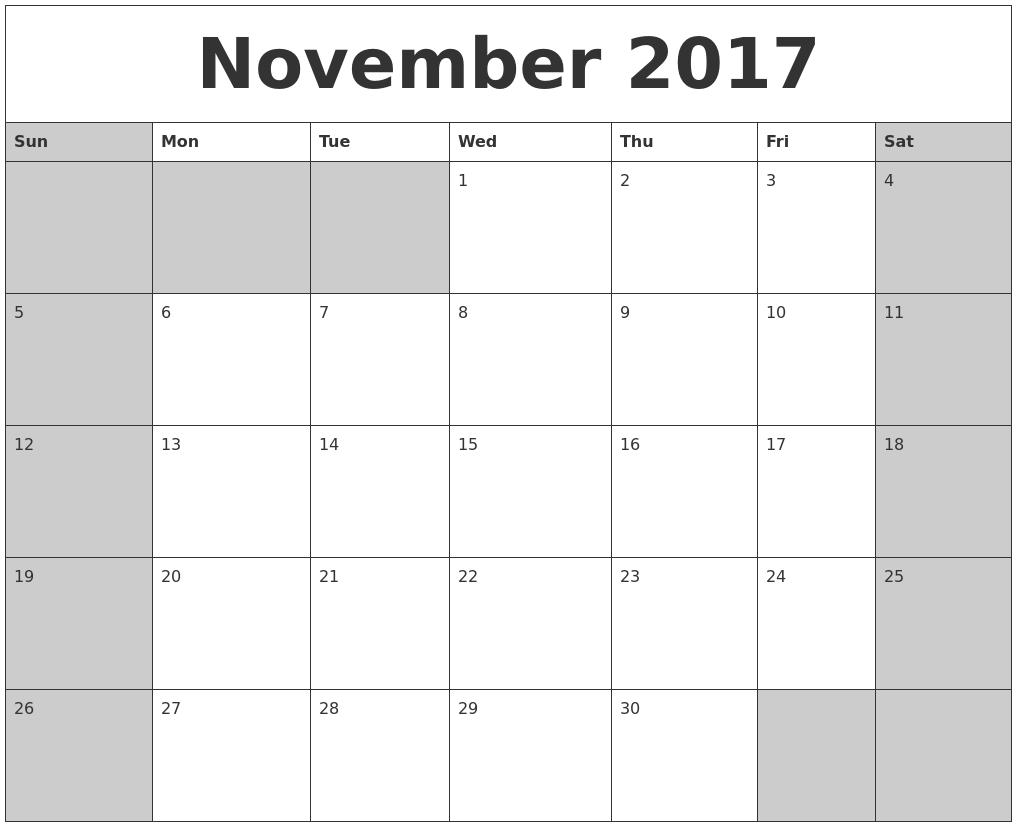 november 2017 calanders