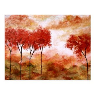 Abstract Landscape Art Red Skinny Trees Painting Post Card