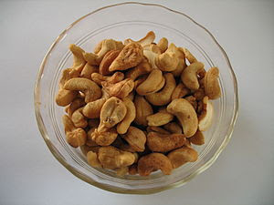 Cashew nuts, roasted and salted.