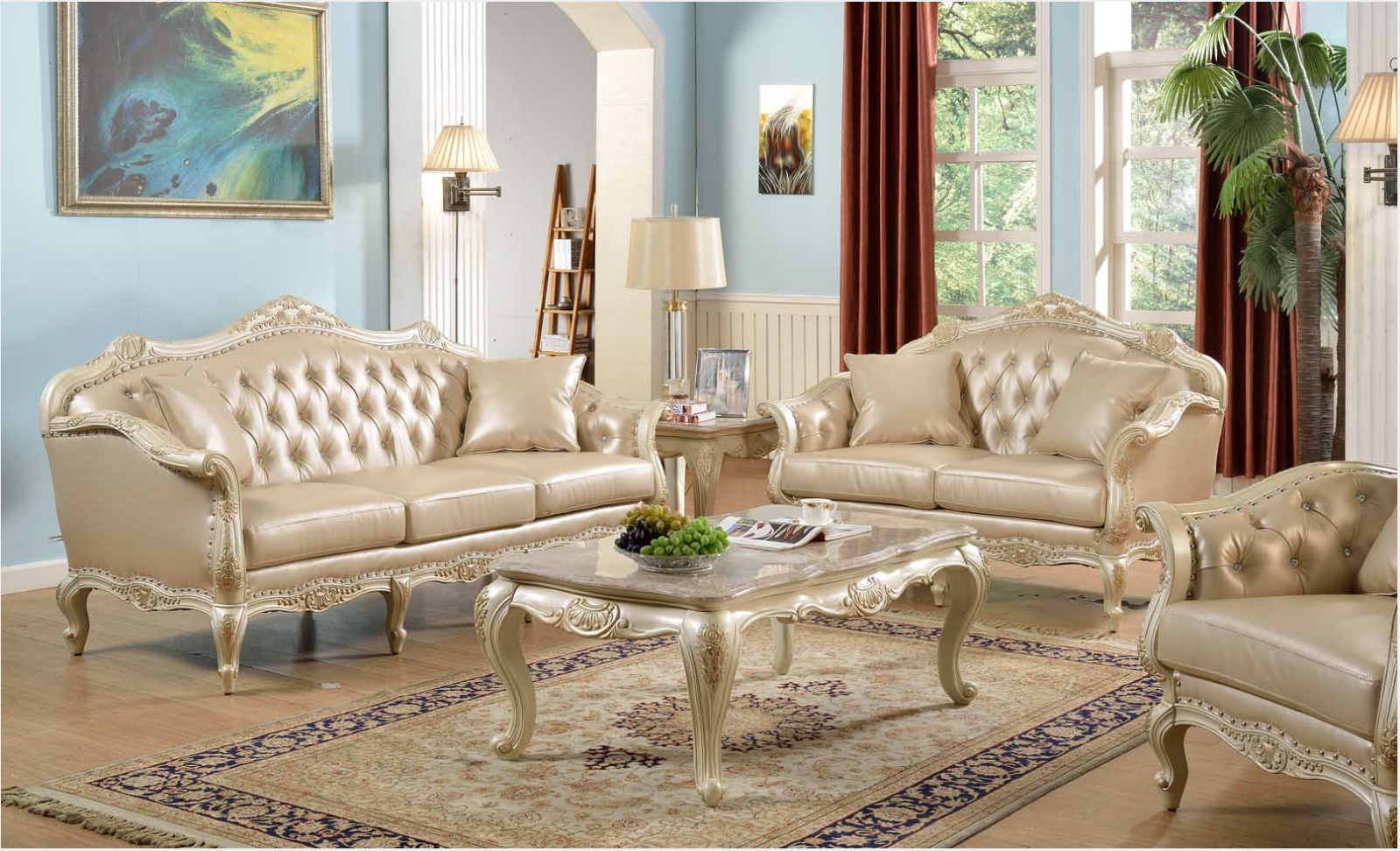 Traditional Antique White Formal Sofa Set with Nail Head ...