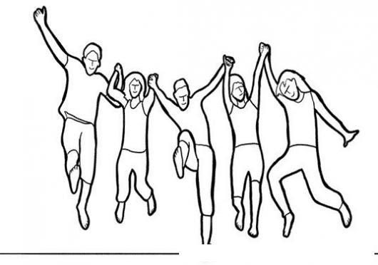 Dibujo De Un Grupo De Amigos Saltando Felices Para Pintar Y Colorear