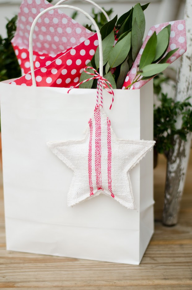 handmade fabric ornament used as a gift tag