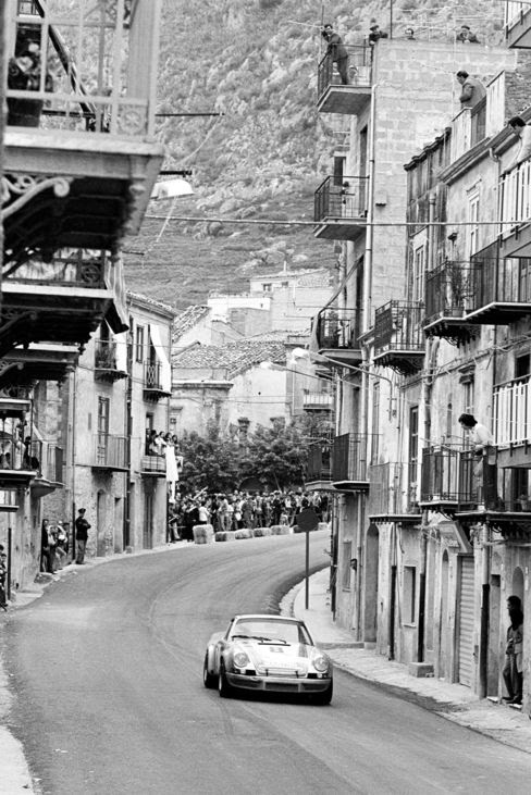 The Targa Florio; Sicily, May 13, 1973. Another typical Targa shot of the winning Porsche Carrera.