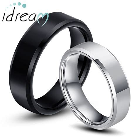 Black   White Tungsten Wedding Bands Set for Women and Men
