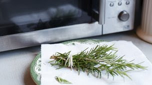 Herbs next to a microwave