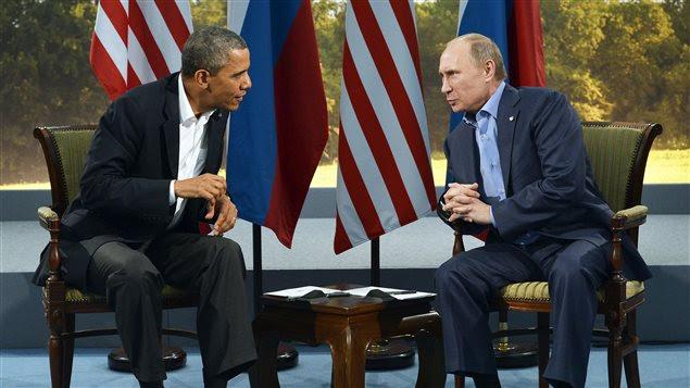 Les présidents américain et russe, Barack Obama et Vladimir Poutine, lors d'une rencontre bilatérale lors du sommet du G8.