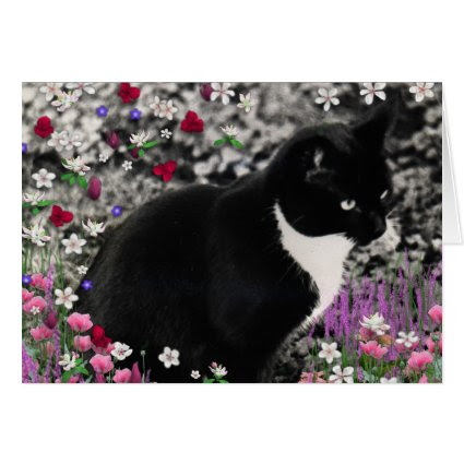 Freckles in Flowers II - Tuxedo Kitty Cat Cards