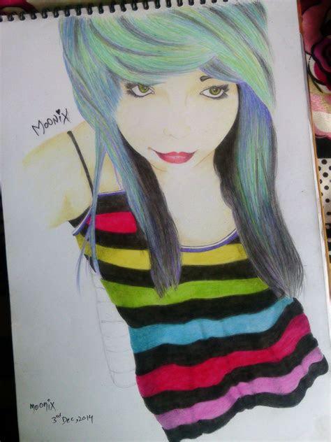 emo girl anime drawing moonix  moonix