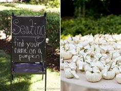 Fall wedding = white pumpkins.