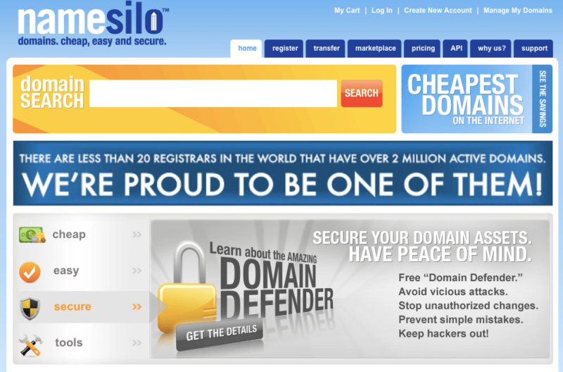 The NameSilo website is dated and belies its strength as a top domain registrar