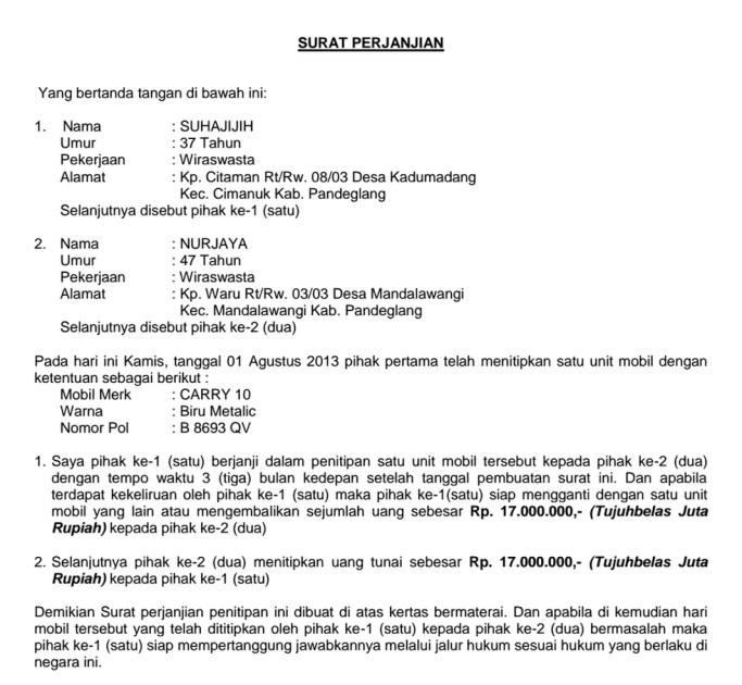 Contoh Surat Perjanjian Pinjam Meminjam Uang - Btt Documents