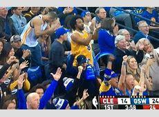 Bandwagon Warriors Fan Celebrates in a Kobe Bryant Jersey