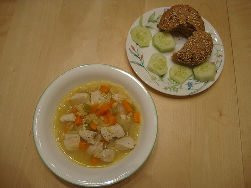 The Ellie Krieger Food You Crave lemon chicken orzo soup, cukes and whole foods bread