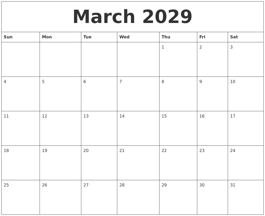 march 2029 free calendar printable