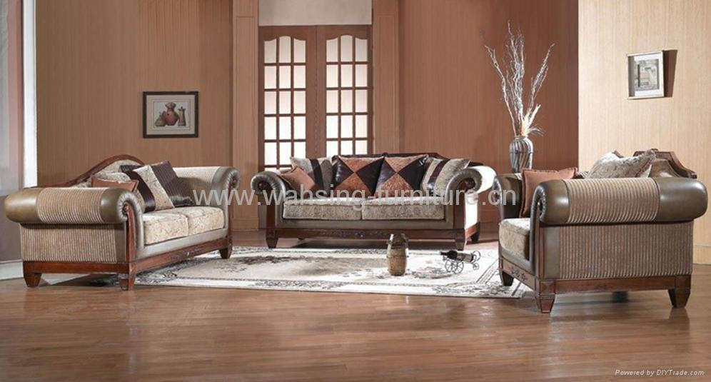 Antique royal solid wood furniture leather/fabric sofa set living