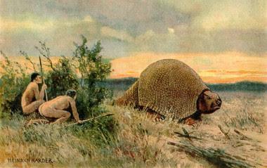 """<p>Ilustración que representa a dos pobladores antiguos de América con un glyptodon. / <a href=""""https://en.wikipedia.org/wiki/Paleo-Indians"""" target=""""_blank"""">Wikipedia</a></p>"""