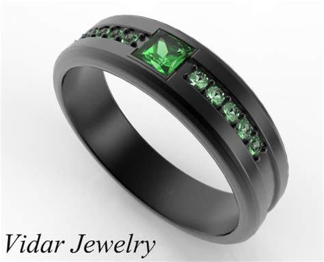 princess cut emerald black gold wedding band