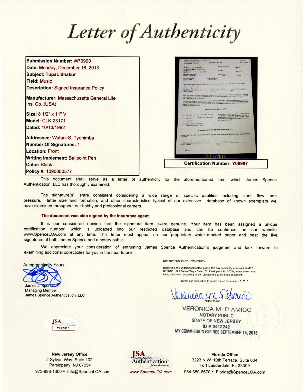 Lot Detail - Tupac Shakur 1992 Signed Life Insurance ...