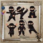CU VectorStyle Lil Ninjas Series Clipart 2