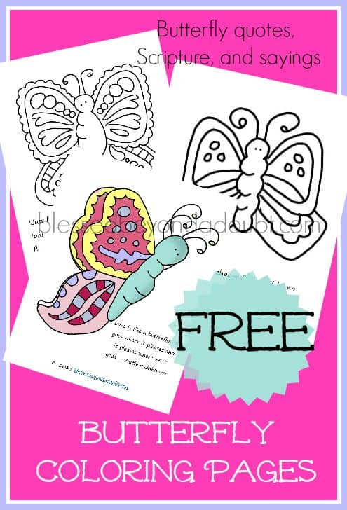 Free Butterfly Coloring Sheets With Quotes And Scriptures