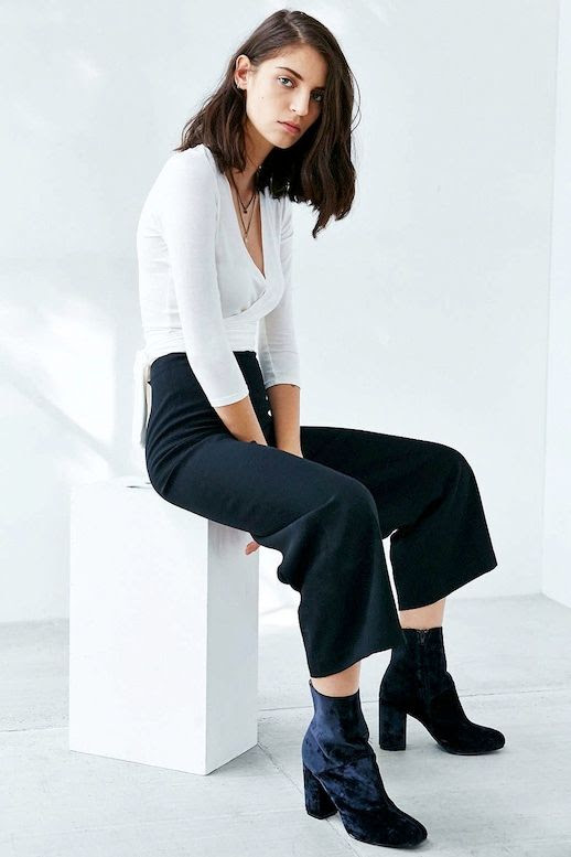 Le Fashion Blog Wrap Top Cropped Wide Leg Trousers Culottes Velvet Heeled Ankle Boots Via Urban Outfitters