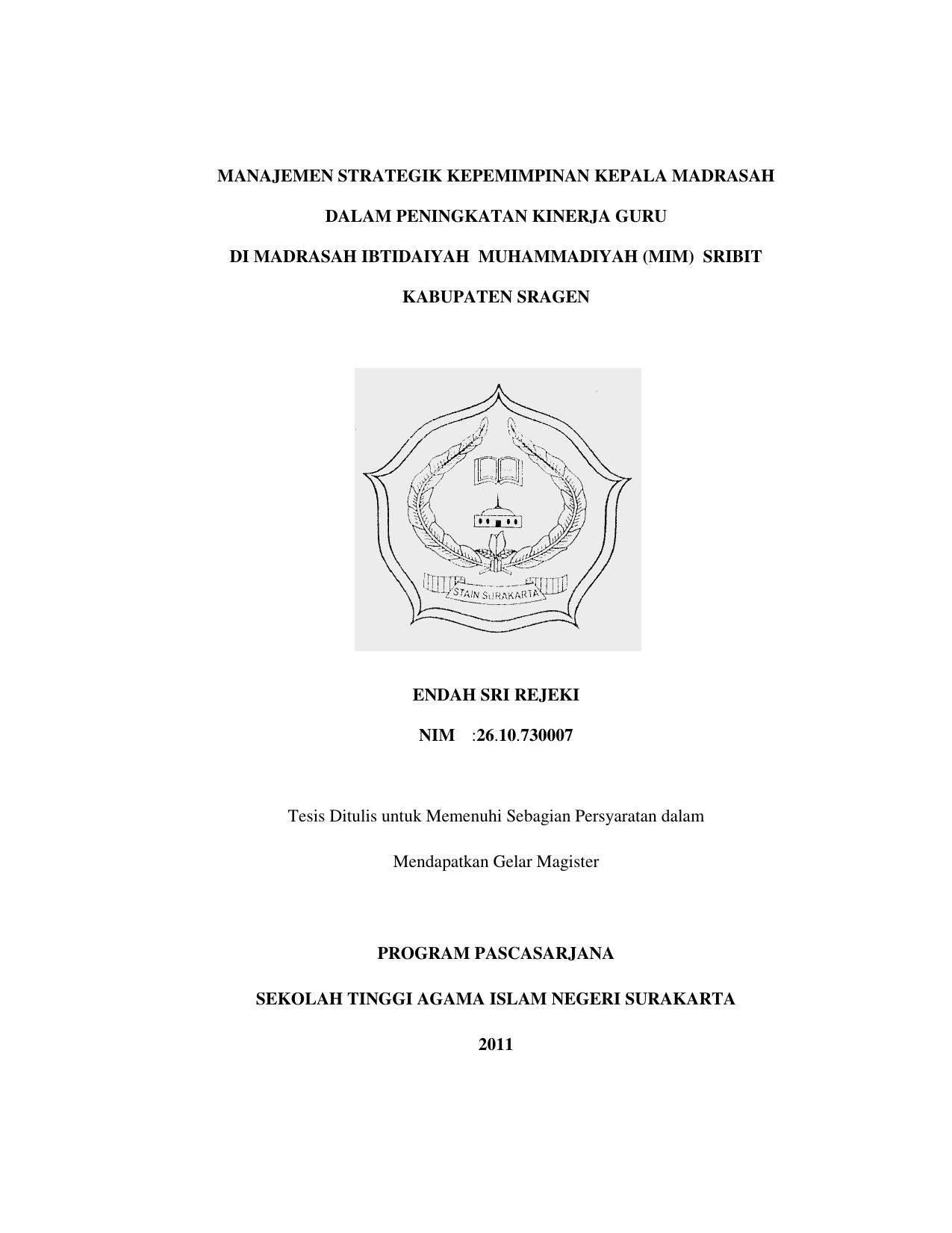 Manajemen Strategik Kepemimpinan Kepala Madrasah Dalam