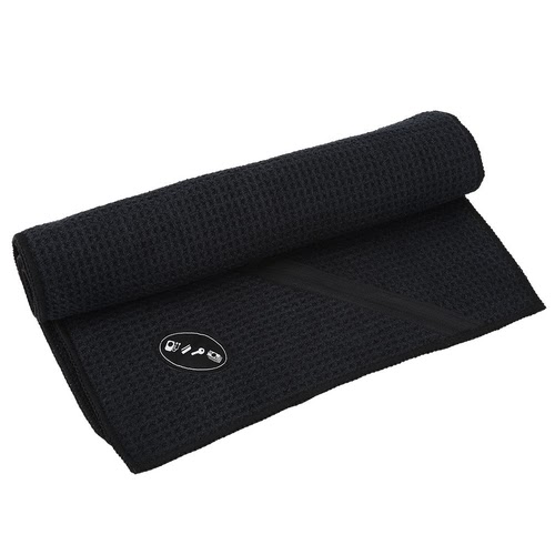 10% OFF | Microfibra Sports toalha com zíper bolso para Outdoor de Fitness Golf Yoga 30 * 110 centímetros (Black)