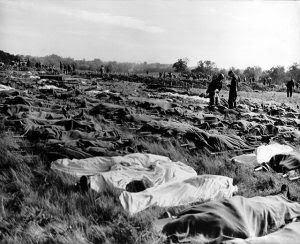 Hundreds of dead soldiers in stretchers covered with a blankets after D-Day. Killed during Normandy landings, they lie in a temporary cemetery on the cliff of Colleville-sur-Mer, overlooking Omaha Beach, ca. June 8-10, 1944. This scene took place a little west of the permanent Normandy American Cemetery and Memorial. France, World War 2. (BSLOC_2014_2_43) (Newscom TagID: evhistorypix026772.jpg) [Photo via Newscom]