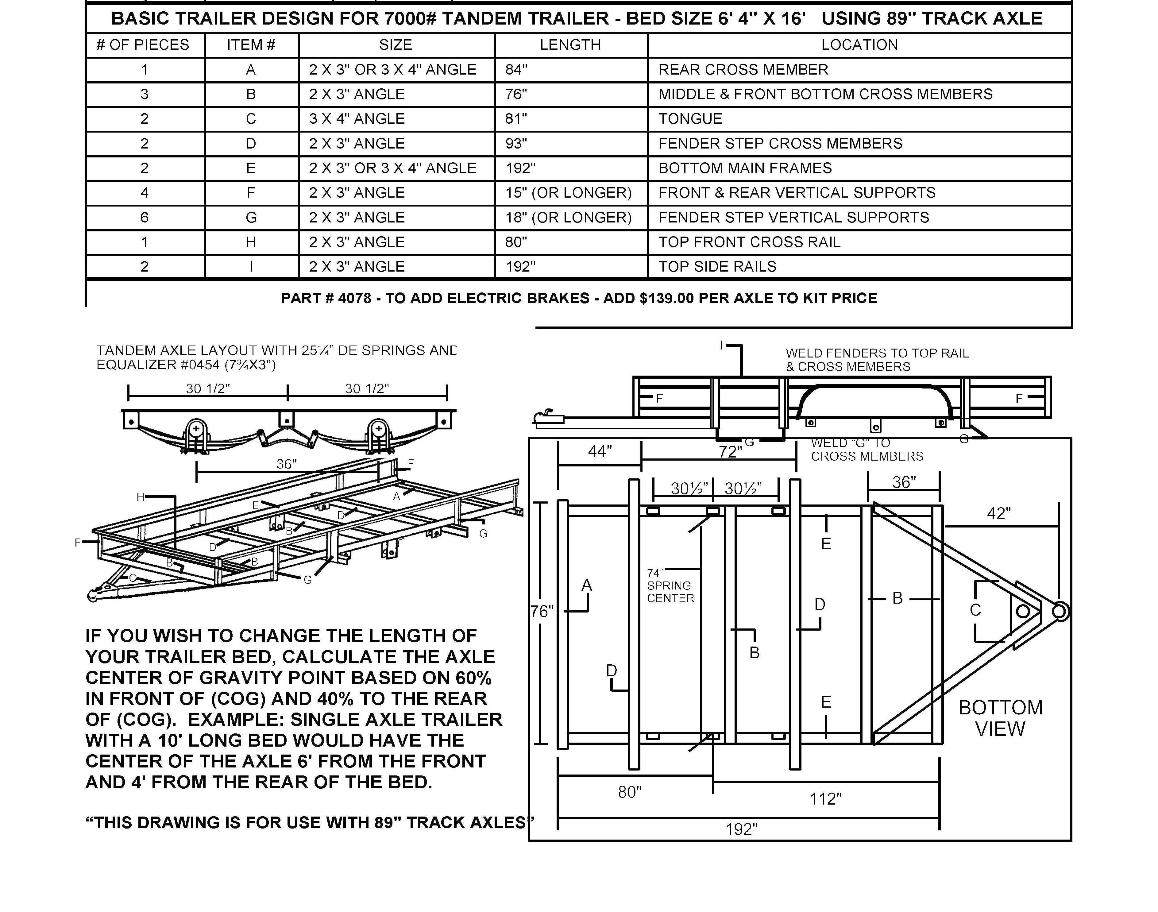 73 Tandem Utility Trailer Undercarriage Kit Build Your Own